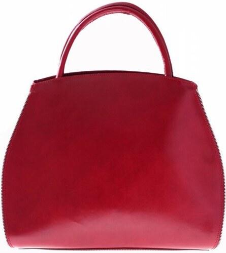 3de468f15b Genuine Leather Kožená kabelka kufřík s možností rozšíření červená ...