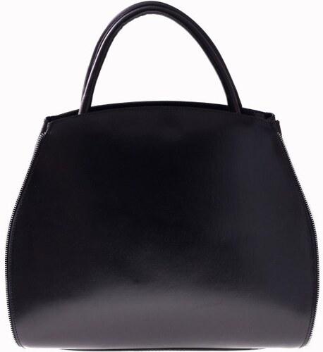 Genuine Leather Kožená kabelka kufřík s možností rozšíření černá ... 1fce8e3a6ee