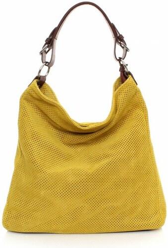 Genuine Leather Univerzální kožená italská kabelka ažurová Žlutá ... e228cf84ec