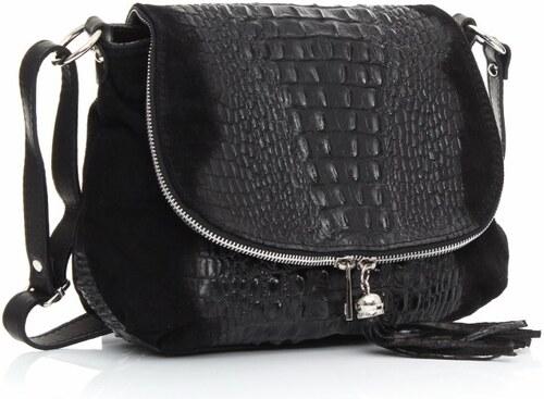 Kožená kabelka listonoška Genuine Leather aligátor Černá - Glami.cz 853bb76000b