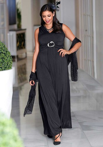 Dlouhé černé večerní šaty SHEEGO 6594cf35c79