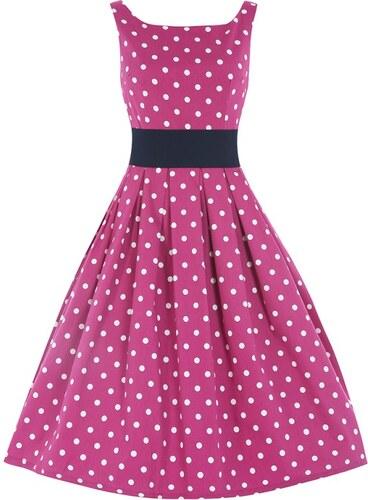 f40d1d0f14f Lindy Bop Lindy Bob Retro Dámské šaty LANA růžové s puntíky velikosti  38