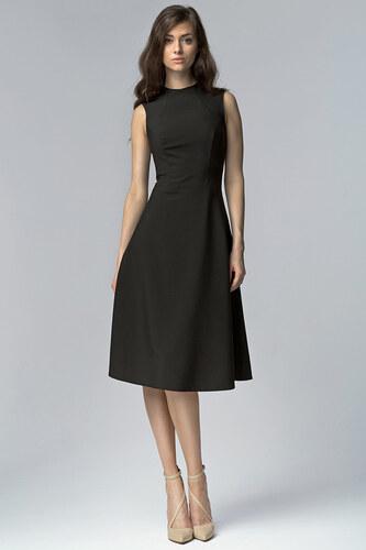 7e03c607780 Nife Elegantní černé šaty MIDI - Glami.cz