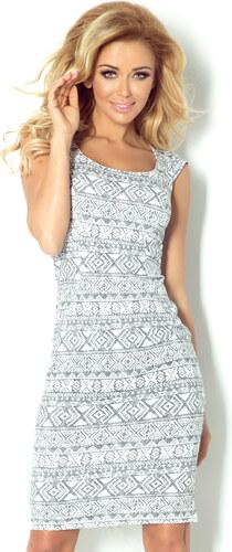 Dámské šaty NUMOCO vypasované s krátkým rukávem středně dlouhé vzorované  šedé 162c8f0d9b