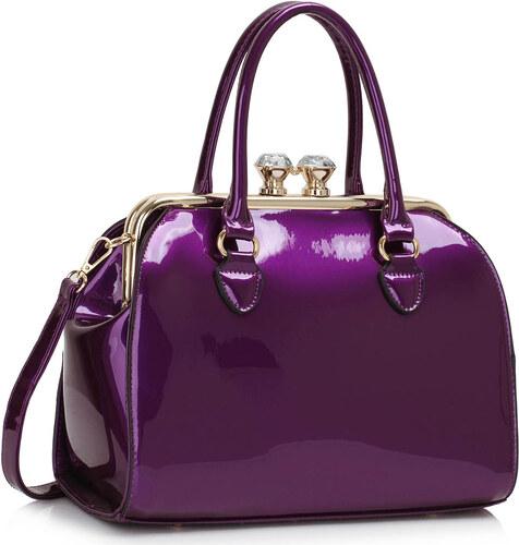 LS fashion LS dámská lakovaná kabelka s kovovým rámem LS00378 fialová 39837fb2f8f