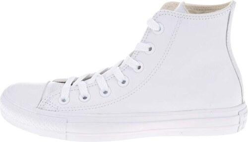 Bílé unisex kožené kotníkové tenisky s logem Converse Chuck Taylor All Star 3ca0963bc8