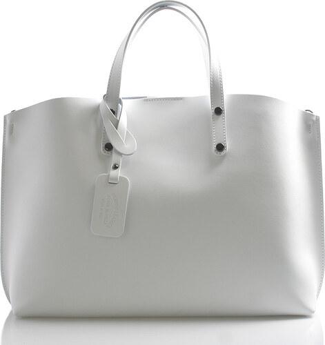 904c29e054 Bílá kožená kabelka do ruky ItalY Jordana bílá - Glami.cz