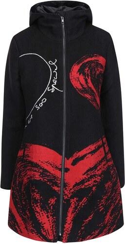 Černý kabát s květinovou podšívkou Desigual Lucia - Glami.cz 4cc3fe5ba1f