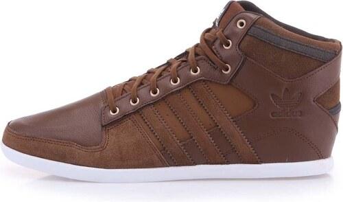 Hnědé pánské kožené kotníkové tenisky adidas Originals Plimcana ... 8d3c2729485