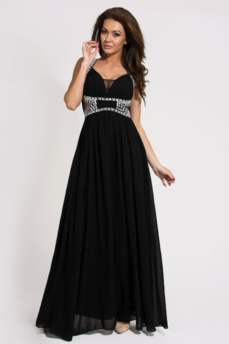 Dámské společenské a plesové šaty zdobené dekorativními kameny EVA LOLA  dlouhé černé e52c9d2765