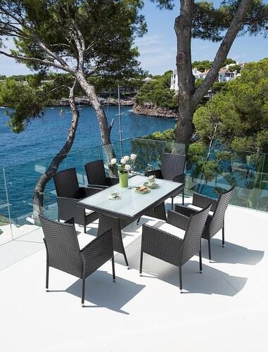 13-tgl. Gartenmöbelset »Costa Rica«,6 Sessel,Tisch 140x80cm,Kunststoff,schwarz