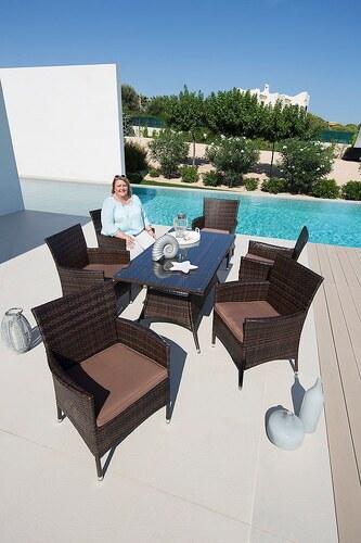 13tlg. Gartenmöbelset »Santiago XL«, 6 Sessel,Tisch 150x80 cm,Polyrattan,braun,inkl. Auflagen