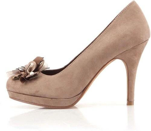 Béžové boty na podpatku s mašlí na špičce Tamaris - Glami.cz 2d647e5eca