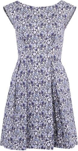 Bílo-modré šaty s květy a rozšířenou sukní Closet - Glami.cz 9fe47fd66b