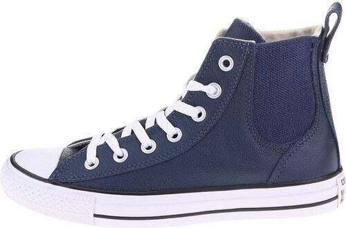e2fb19fe782 Tmavě modré dámské kožené tenisky Converse Chuck Taylor Chelsee ...