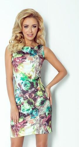 Dámské pouzdrové šaty se zipy zelenkavé s květy velikost oblečení  S ... 5c146c7910