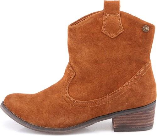 Hnědé kožené dámské kovbojské boty s vyšším podpatkem Xti - Glami.cz b0ce65c66c