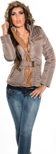 Luxusní dámská zimní bunda Koucla cappuccino M - Glami.cz cc041c6d351