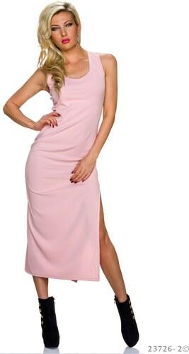 Dlouhé šaty s rozparkem - růžové - Glami.cz 3ec8ecb00f