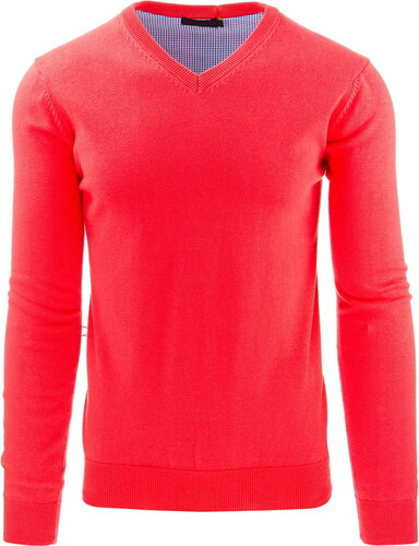 Pánský svetr s výstřihem do V - růžová - Glami.cz 502dc9f534