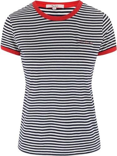 Černo-bílé pruhované tričko s červenými lemy Pepe Jeans Donna - Glami.cz 5d8cd0238d