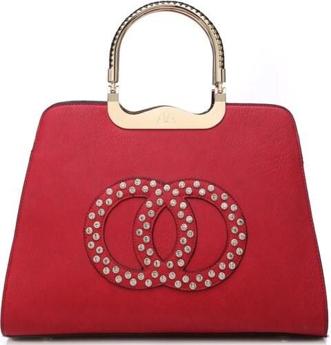 0784f76fba Moda Handbag Módna červená kabelka s ozdobnými kruhmi K2628 - Glami.sk