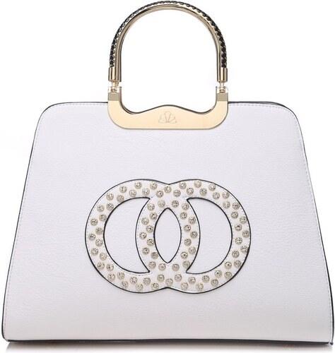 3c219b0937 Moda Handbag Módna biela kabelka s ozdobnými kruhmi K2628 - Glami.sk