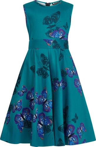 02caa60dce09 Lindy Bop Dětské retro šaty Lady Vintage MINI BUTTERFLY HEPBURN TYRKYSOVÉ  dětské velikosti  5-