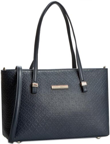 Kabelka TOMMY HILFIGER - Th Emboss Medium Tote Crossover AW0AW02024  Midnight 001 352bb93f819