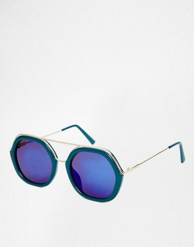 41fc22c073f2a3 AJ Morgan - Lunettes de soleil oversize à monture ronde avec verres flashy  turquoise et barre plate - Bleu