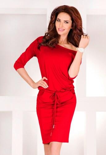 numoco Dámské sportovní šaty netopýří střih s kapsami na zavazování červené b8a6cc0eb8