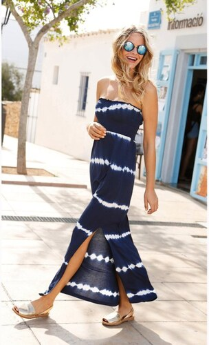 Venca Dlouhé batikované šaty bez ramínek modrá - Glami.cz 3a58e1c279