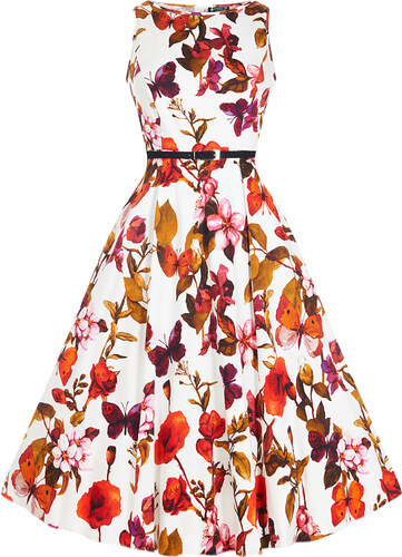 Bílé šaty s květy a motýlky Lady V London Audrey - Glami.cz d0d7f0a0d2