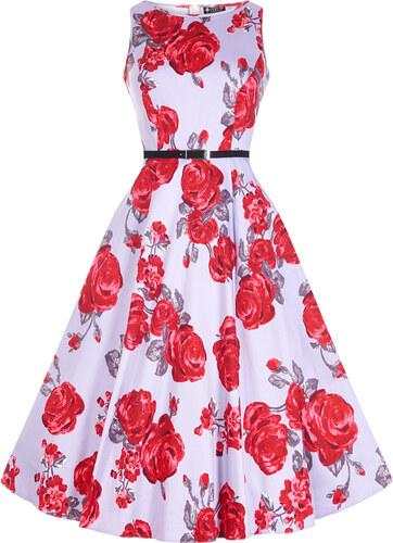 df807203c Květované retro šaty v barvě Lila Lady V London Audrey - - Glami.cz