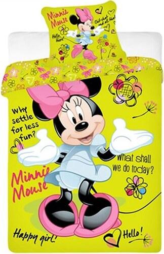 2da0634d7 Jerry Fabrics Detské obojstranné obliečky Minnie, 140x200 cm / 70x90 cm -  zeleno-žlté
