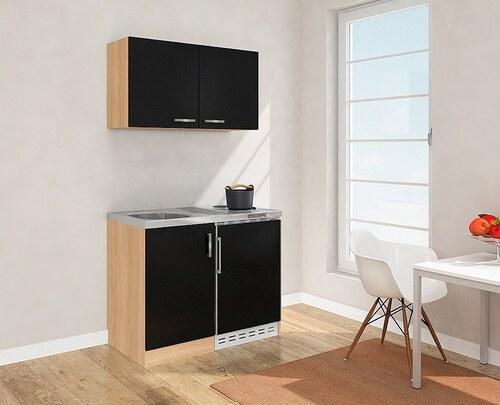 Miniküche mit Duo-Kochplattenfeld und Kühlschrank, Breite 100 cm