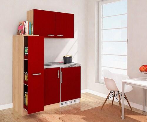 Miniküche mit Glaskeramikkochfeld und Kühlschrank, Breite 130 cm