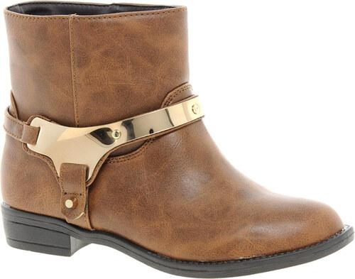 Kožené kotníkové boty Timeless se zlatou přezkou hnědé c212ed9607