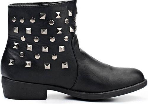 Černé kotníkové boty se cvočky Timeless - Glami.cz 9b3c918997
