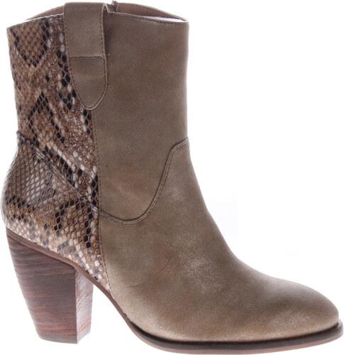 Hnědé hadí boty na podpatku H3 shoes - Glami.cz 25a5e4346d