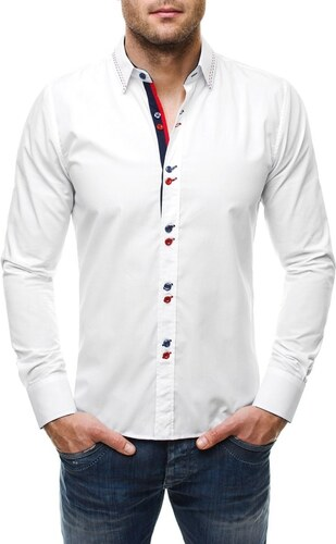 Luxusní bílá košile s výraznými knoflíky 638 - Glami.cz 7d43090bd7