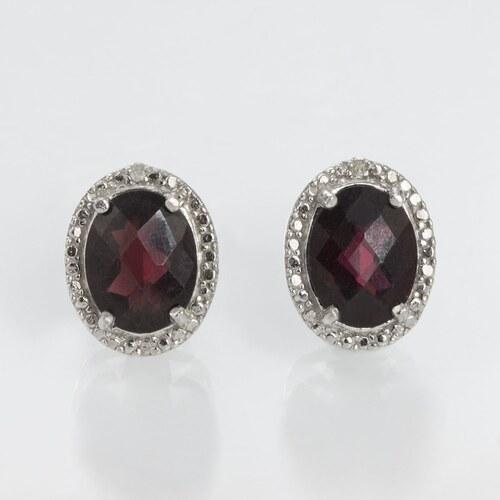 Stříbrné náušnice s granátem a diamantem KLENOTA - Glami.cz 2855abd02a0