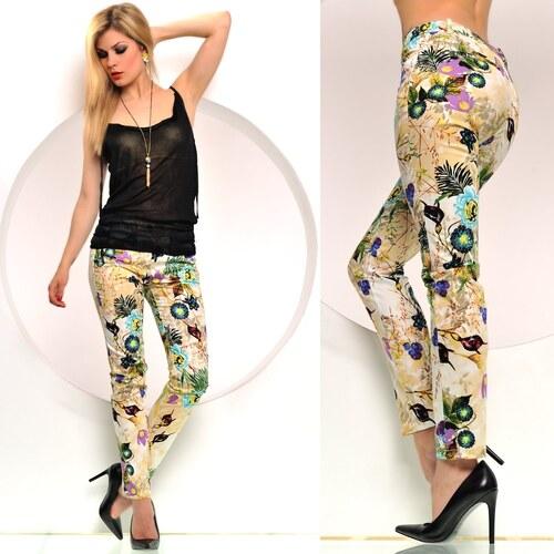 Letní kalhoty s listy a květy