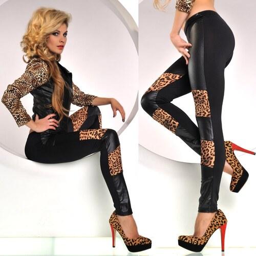 Leopardí legíny koženkové