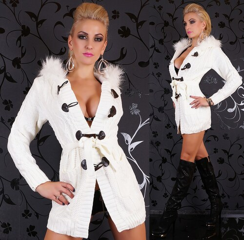 Luxusní dlouhý svetr zateplený s kožíškem a kapucí - Glami.cz f4828806e9
