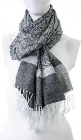 67cef5e11ac Stylová dámská šála pašmína barvy Černo-bílá