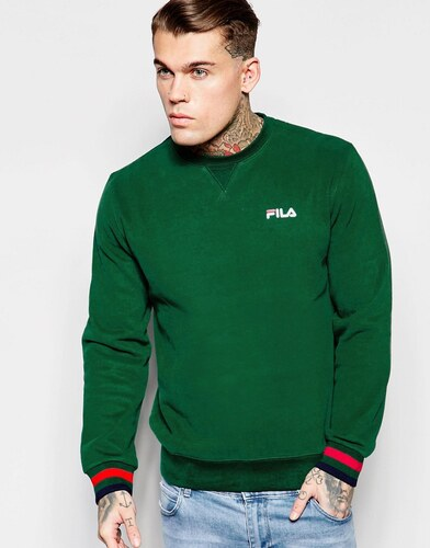 fila vintage fila sweat avec petit logo noir vert. Black Bedroom Furniture Sets. Home Design Ideas