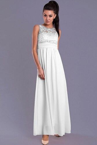 3b08dc730f6 Dámské společenské šaty EVA LOLA s plastickým živůtkem dlouhé bílé ...