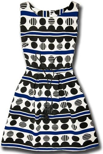 Kleid Ecru/blau 1037