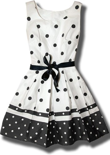 Kleid Punkten weiß/schwarz DG9501